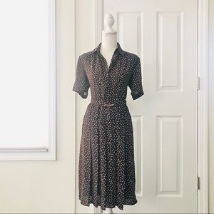 Vintage Black Beige Floral Print Pleat Shirt Dress